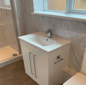 Grey bathroom white sink