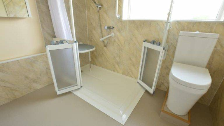 Walk in shower with seat and handrails, with raised toilet